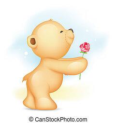 roos, beer, voorstellen, teddy