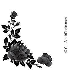 roos, bloem, hoekig, model