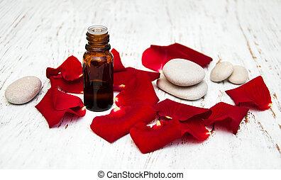 roos, bloem kroonbladen, met, aromatherapy, essentiële olie