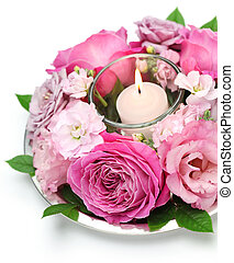 roos, bloem schikking, met, kaarsje