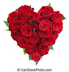 roos, bloemen, hart, op, white., valentine., liefde
