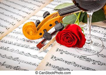 roos, boog, afsluiten, viool rol, aanzicht, rode wijn