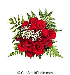 roos, bouquetten, van boven