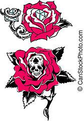 roos, diamant, schedel, tatoeëren