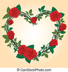 roos, frame, in, de, vorm, van, hart