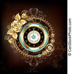 roos, goud, klok