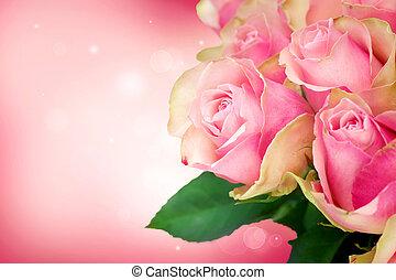 roos, kaart, kunst, trouwfeest, bloem, design.