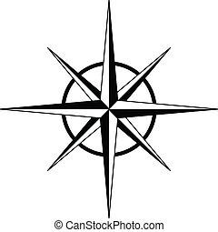 roos, kompas, vector, -, black