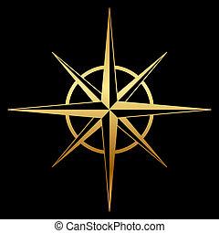 roos, kompas, vector, goud, pictogram