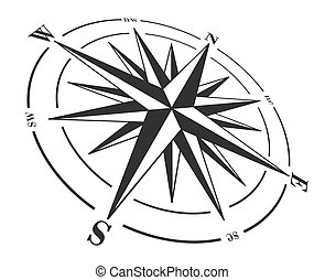 roos, kompas, vrijstaand, white.