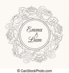 roos, krans, uitnodiging, trouwfeest, bloemen, kaart