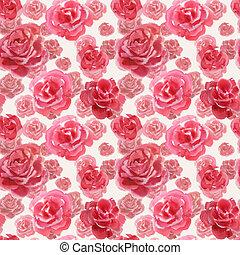 roos, met de hand gemaakt, seamless, watercolor, gematigd, model, bloemen