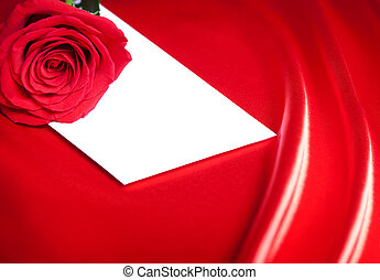 roos, op, enveloppe, achtergrond, witte , zijde, abstract, rood