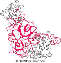 roos, ornament, boekrol, verticaal