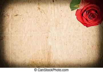 roos, papier, grunge, rood, lege