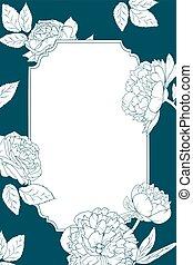 roos, peony, bloemen, uitnodigingskaart, mal, grens