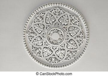 roos, pleister, of, plafond, schaaltje