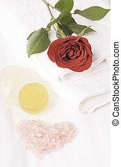 roos, romantische, bed, ontsnapping