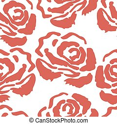 roos, rose., seamless, achtergrond, ouderwetse , pattern.
