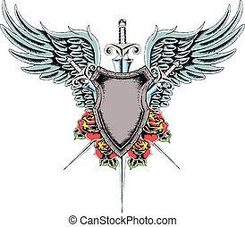 roos, schild, vleugel