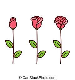 roos, set, spotprent