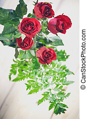 roos, space., hout, achtergrond, kopie, rood