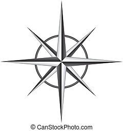 roos, vector, illustratie, kompas