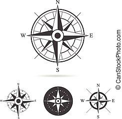 roos, vector, verzameling, kompas