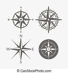 roos, verzameling, vector, ontwerp, retro, wind