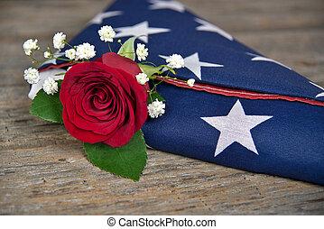 roos, vlag, ineengevouwen , rood