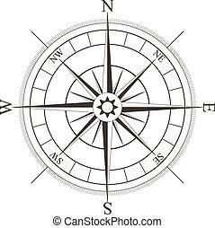 roos, witte , black , vrijstaand, kompas