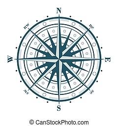 roos, witte , vrijstaand, kompas