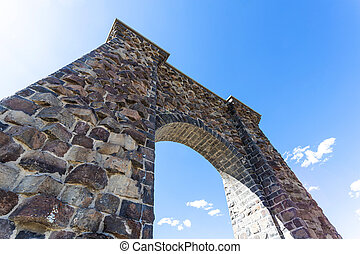 Roosevelt Arch at the North Entrance of Yellowstone National Park
