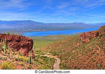 Roosevelt Lake - A large Arizona desert lake with clear blue...