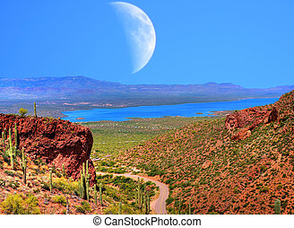 Roosevelt Lake and Moon - Roosevelt Lake with large moon in ...