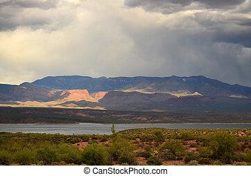 Roosevelt Lake Arizona - Mountain by Roosevelt lake in ...