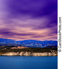Roosevelt Lake Central Arizona - Mountain and reflections of...