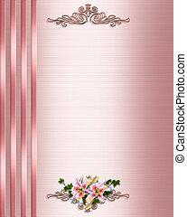 rooskleurig satijn, trouwfeest, grens, uitnodiging