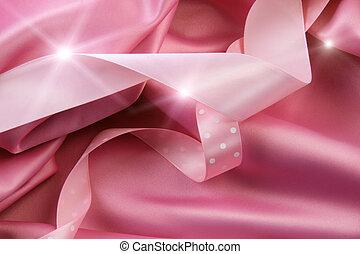 rooskleurig satijn, zijde, achtergrond, met, linten