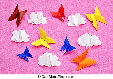 rooskleurige achtergrond, met, papier, veelkleurig, vlinder, en, wolken