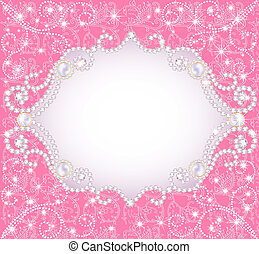 rooskleurige achtergrond, met, parels, voor, aantrekkelijk