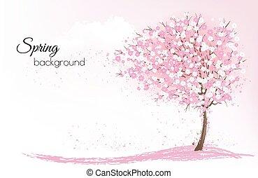 rooskleurige achtergrond, natuur, lente, boom., sakura,...