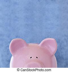 rooskleurige piggy bank, op, blauwe
