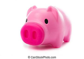 rooskleurige piggy bank, vrijstaand