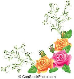 rooskleurige rozen, gele