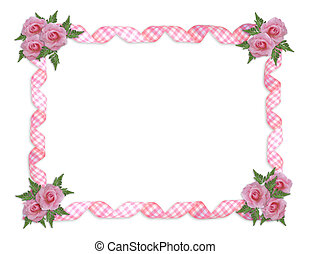 rooskleurige rozen, gingham, linten, grens