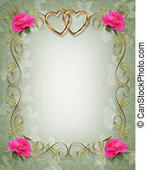rooskleurige rozen, grens, trouwfeest