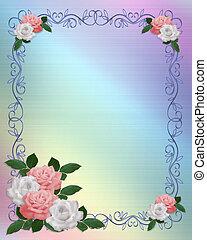 rooskleurige rozen, mal, trouwfeest, witte , grens
