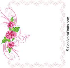 rooskleurige rozen, met, ornament., frame