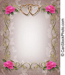 rooskleurige rozen, trouwfeest, grens